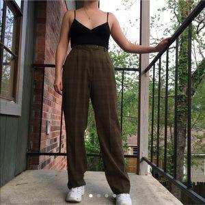 vintage olive green plaid pants